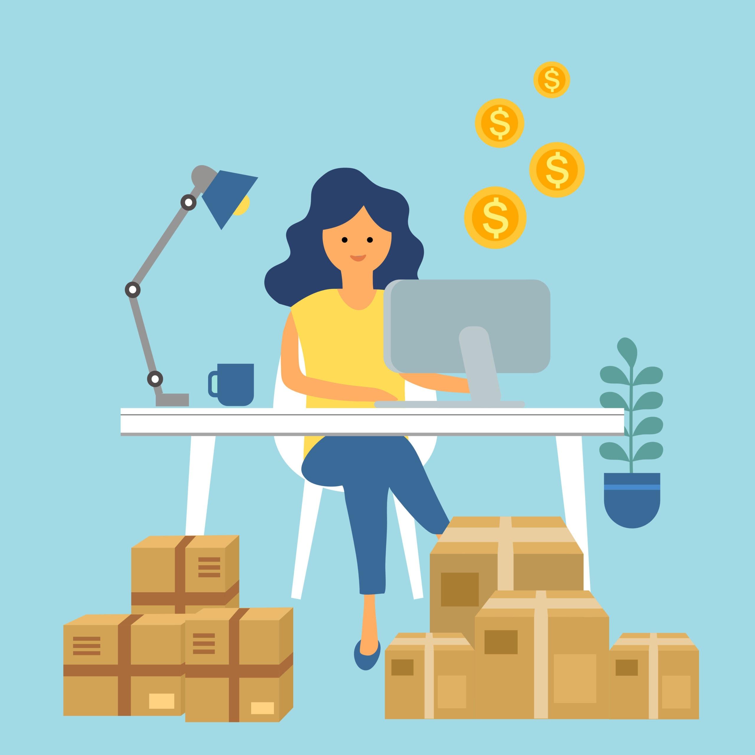 Internetu prekiaujanti moteris sėdi prie kompiuterio, šalia supakuotos dėžės. Darbas iš namų.