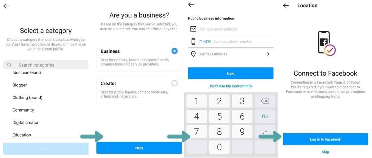 kaip nustatyti verslo paskyra Instagram